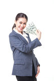 Asian business woman hold bank note in hand Stock Photography