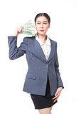 Asian business woman hold bank note in hand Stock Photos