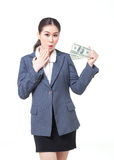 Asian business woman hold bank note in hand Royalty Free Stock Photo