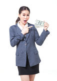 Asian business woman hold bank note in hand Stock Photo