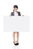 Asian business woman hold empty blank board Stock Image