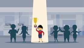 Asian Business Woman Hold Golden Cup Successful Businesswoman With Spot Light Winner Concept. Flat Vector Illustration Royalty Free Stock Photo