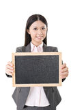 Asian business woman holding blank blackboard Stock Photos