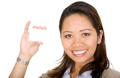 Asian business woman holding a business card Royalty Free Stock Photos