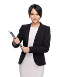 Asian business woman holding chip board Royalty Free Stock Photography