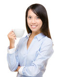 Asian business woman holding a cup Stock Photos