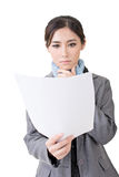 Asian business woman holding file document paper Royalty Free Stock Photo