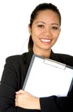 Asian business woman holding a folder Royalty Free Stock Photos