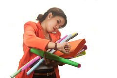 Business woman holding folders and papers is  hastily . Royalty Free Stock Image