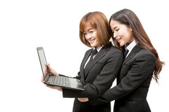 Asian business woman holding laptop Royalty Free Stock Photos