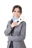 Asian business woman holding a mask Royalty Free Stock Image