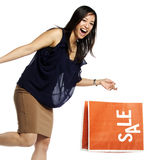 Asian business woman holding shopping bag Royalty Free Stock Image
