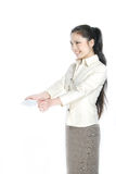 Asian business woman holding white card Royalty Free Stock Images