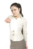 Asian business woman holding white card Royalty Free Stock Photography