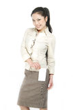 Asian business woman holding white card Stock Photo