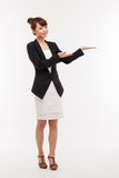 Asian business woman indicate blank space. Stock Image