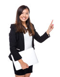 Asian business woman with laptop computer and finger up Stock Photography