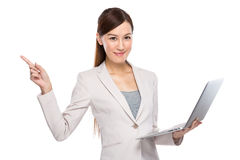 Asian Business Woman with laptop and fingerup Stock Photography