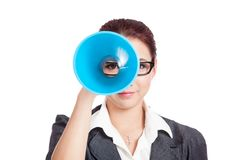 Asian business woman look through a tube Royalty Free Stock Image