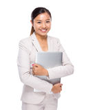 Asian business woman with notebook computer Royalty Free Stock Images