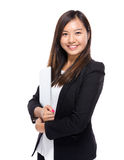 Asian business woman with notebook computer Royalty Free Stock Image