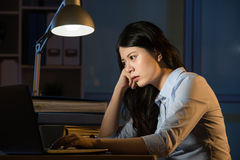 Asian business woman obsession working overtime late night. Asian business woman obsession working and thinking overtime late night. indoors office background stock image