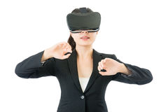Asian business woman open discover by VR headset glasses Stock Photography