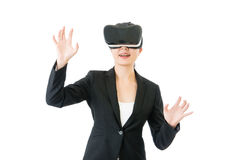 Asian business woman organize workflow by VR headset glasses Stock Images