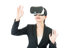 Asian business woman organize workflow by VR headset glasses Stock Photo