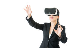 Asian business woman organize workflow by VR headset glasses Royalty Free Stock Image