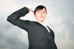 Asian business woman outdoors. Royalty Free Stock Photo