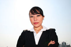 Asian business woman outdoors. Royalty Free Stock Images