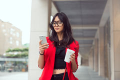 Asian business woman outdoors Royalty Free Stock Photography