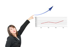 Asian business woman point to business chart  grow up Royalty Free Stock Photography