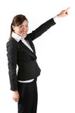 Asian business woman pointing. Stock Photo