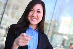 Asian Business Woman Pointing Royalty Free Stock Images