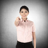 Asian Business Woman Pointing Royalty Free Stock Photography