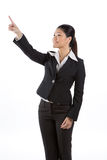 Asian business woman pointing at something Royalty Free Stock Photography