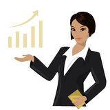 Asian business woman pointing to  business trends Stock Images