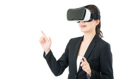 Asian business woman presentation project by VR headset glasses Stock Photography