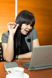 Asian business woman read notebook royalty free stock images