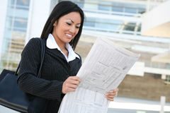 Asian Business Woman Reading Stock Photography