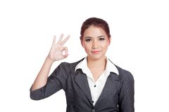 Asian business woman show OK hand sign  and smile Royalty Free Stock Photography