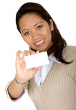 Asian business woman showing business card Stock Image