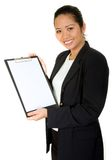 Asian business woman showing a folder Royalty Free Stock Image