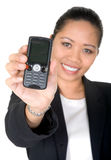 Asian business woman showing mobile phone Stock Photo
