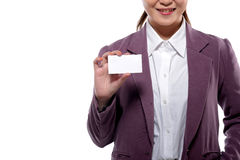 Asian Business Woman Showing Name Card Royalty Free Stock Image