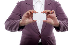 Asian Business Woman Showing Name Card Royalty Free Stock Photography