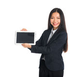 Asian business woman showing off tablet royalty free stock photos