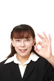 Asian business woman showing perfect sign Royalty Free Stock Photo